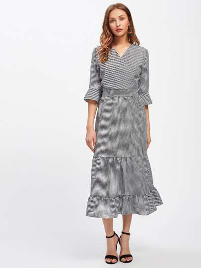 Gingham Surplice Front Tiered Dress