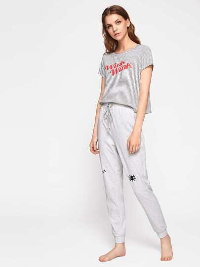 Striped Tee And Heather Knit Sweatpants Pajama Set
