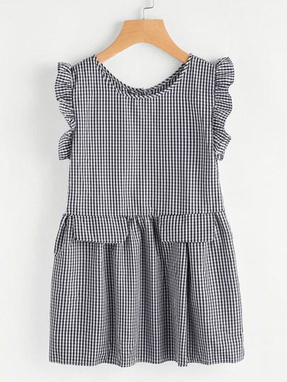 Gingham Frill Trim Button Back Top
