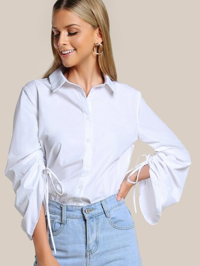 Shirred Long Sleeve Button Up WHITE
