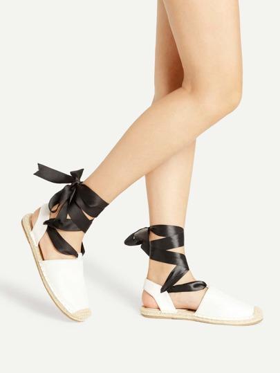 Cap Toe Tie Leg PU Flats