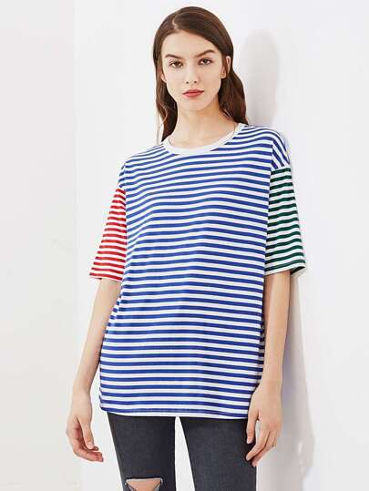 Drop Shoulder Mixed Striped Boxy Tee