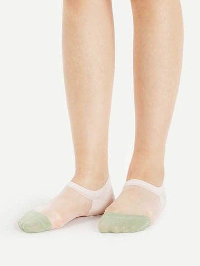 Color Block Mesh Paneled Invisible Socks