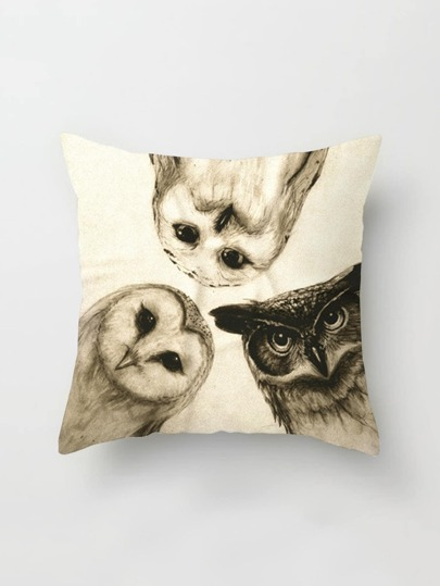 Funda de almohada con estampado de triple lechuza