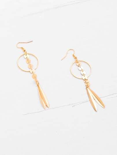 Boucles d'oreille design de feuille et paillette