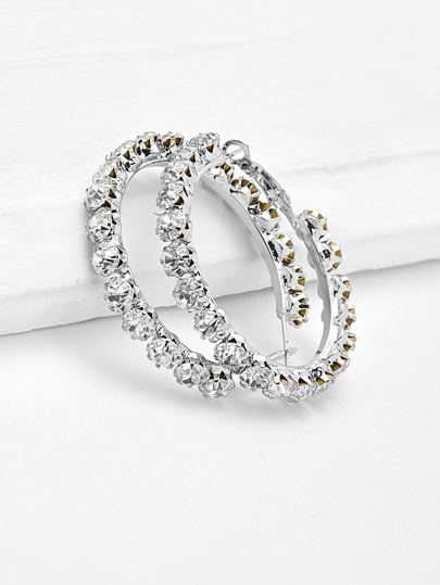 Rhinestone Delicate Hoop Earrings