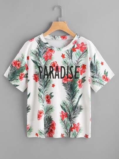 Tee-shirt imprimé tropical des lettres