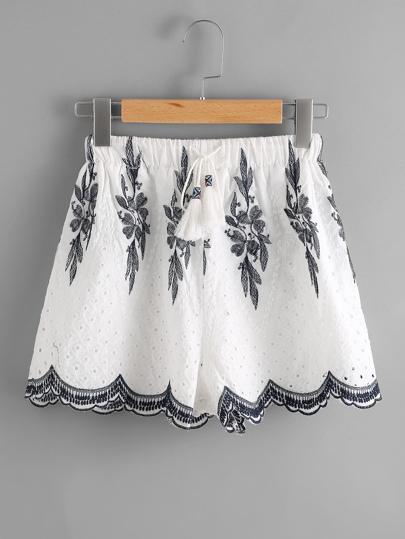 Embroidered Drawstring Waist Scalloped Hem Shorts