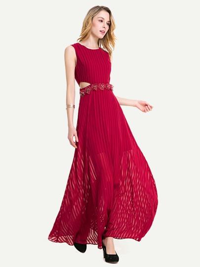 3D Applique Keyhole Cut Side Chiffon Dress