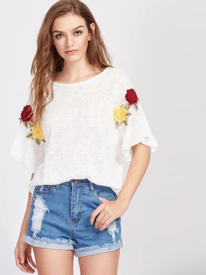 Tee-shirt avec des pièces des fleurs et un lacet