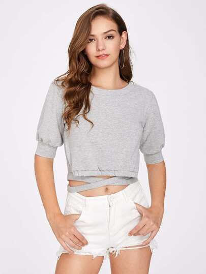 Lace Up Waist Crop Sweatshirt