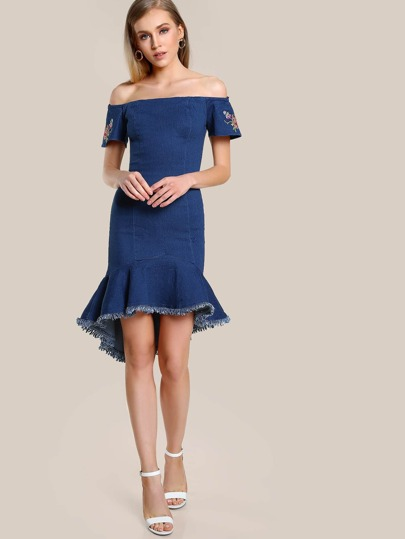 Off Shoulder Embroidered Frayed Hem Dress INDIGO