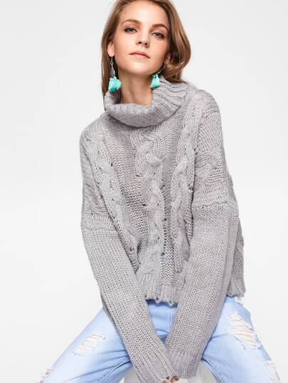 Roll Neck Cable Knit Boxy Jumper