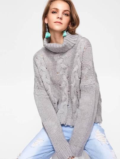 Jersey tejido con cuello enrollado