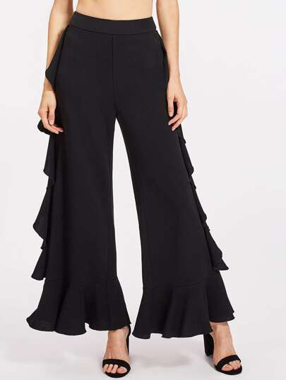 Frill Trim Wide Leg Pants