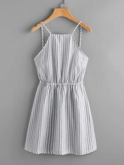 Vertical Striped Bow Tie Open Back Cami Dress