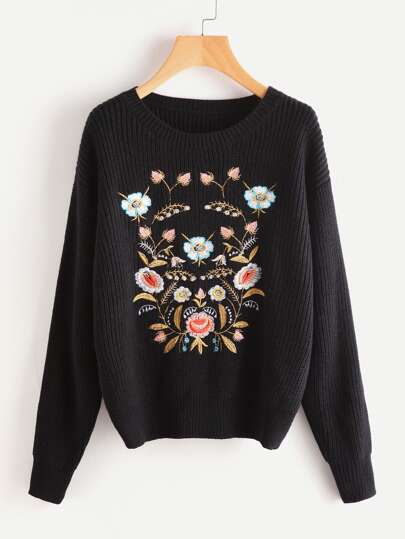 Flower Embroidered Drop Shoulder Jumper
