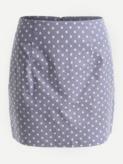 Polka Dot Print Invisible Zip Back Skirt
