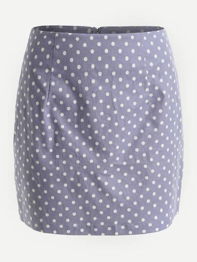 Falda con estampado de lunares con cremallera invisible en la espalda