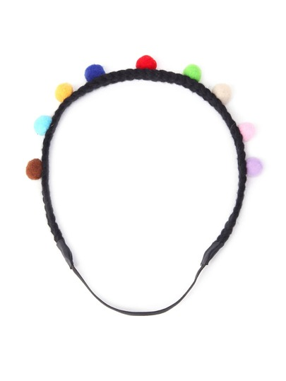 Pom Pom Design Braided Headband
