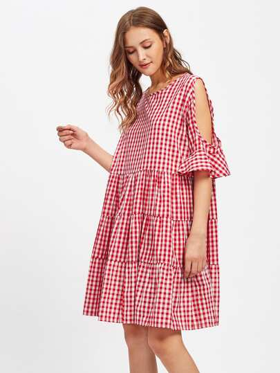 Open Shoulder Frill Cuff Tiered Peasant Gingham Dress