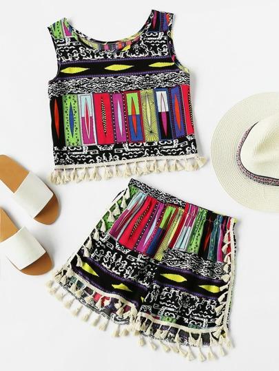 Contrast Tassel Trim Aztec Print Tank Top With Shorts