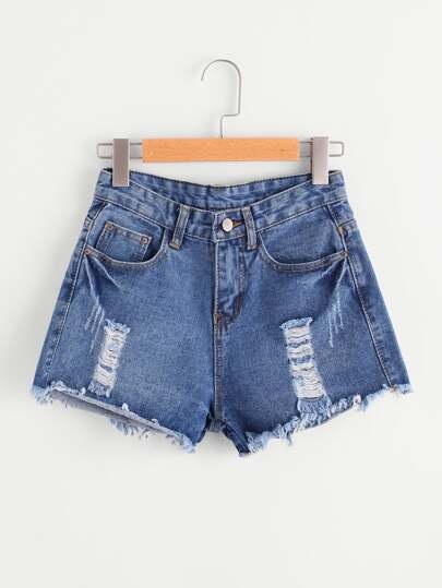 Raw Hem Distressed Denim Shorts