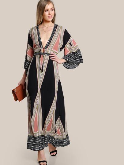 Plunging Neckline Boho Maxi Dress BLACK