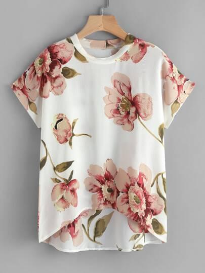 Chiffon Bluse mit Blumen und abfallendem Saum