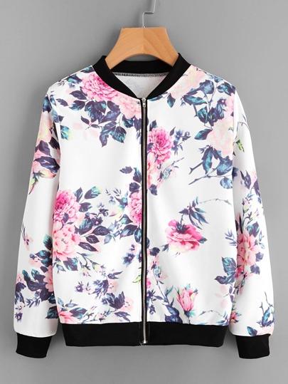 Veste avec zip avec garniture bicolore imprimé fleur