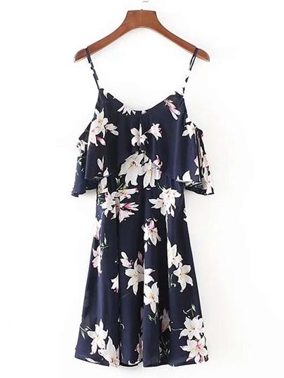 Cold Shoulder Ruffle Trim Floral Dress