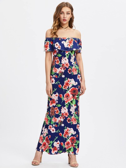 Flounce Layered Random Florals Bardot Dress