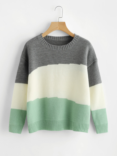 Pull-over color-block avec la chute de l\'épaule