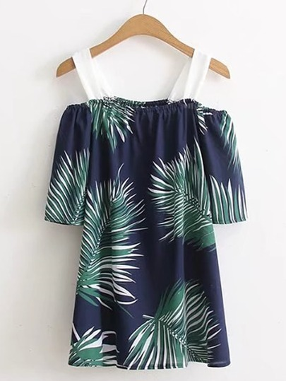 Cold Shoulder Leaves Print Top