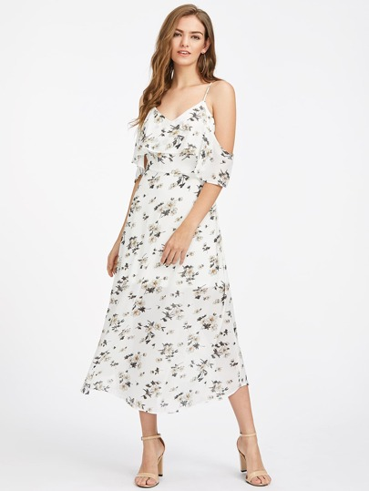 Calico Print Flounce Layered Dress