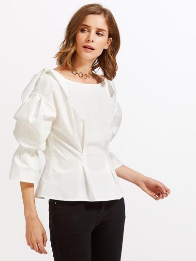 Bow Embellished Shoulder Fold Pleat Blouse