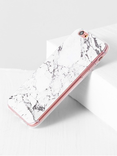 Funda para iphone con estampado de mármol - blanco