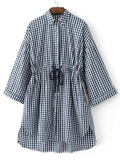 Rolled Cuff Gingham Drawstring High Low Shirt Dress