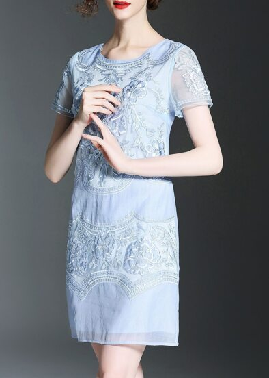 Flowers Embroidered Sheath Dress
