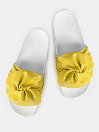 Flourescent Patent Ruched Slides YELLOW