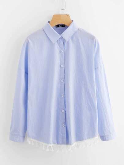 Contrast Tassel Lace Trim Pinstripe Shirt