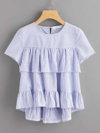 Tiered Frill Trim Striped Dip Hem Blouse