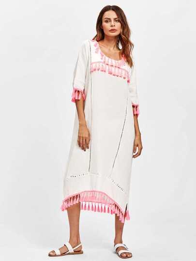 Contrast Tassel Trim Hollow Lace Panel Dress