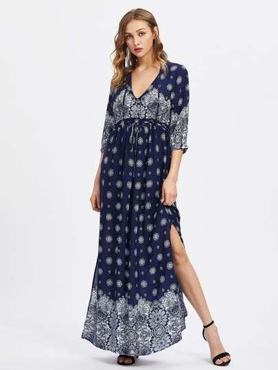 V-neckline Slit Side Ornate Print Dress