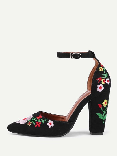 Calico Embroidery Pointed Toe High Heels
