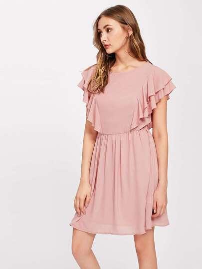 Layered Flutter Sleeve Smock Dress