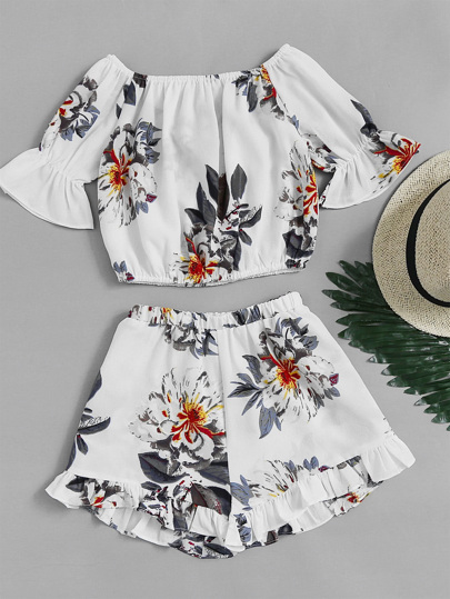 Bardot Florals Crop Top With Frill Hem Shorts