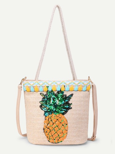 Sequin Pineapple Design Straw Bag With Convertible Strap