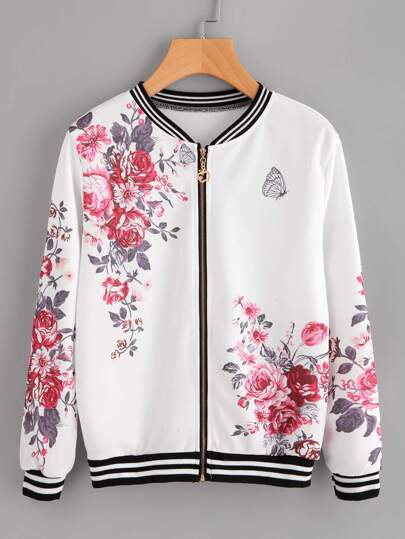 Floral Print Random Stripe Trim Zip Up Jacket