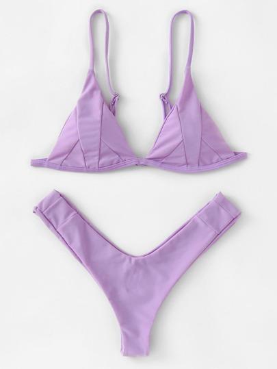 Seam Detail High Leg Bikini Set